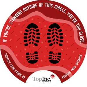 red sticker with foot prints