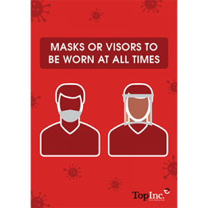 red poster indicating wear a mask