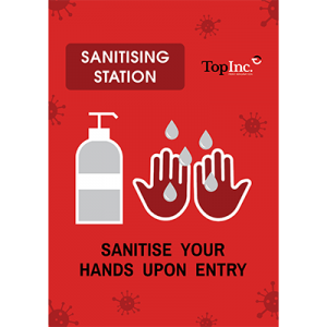 Poster with hands and hand sanitizer